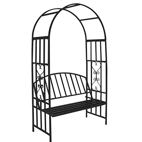 RuBao Rose Arch with Bench Seat Pergola,Garden Metal Steel Black Arch Trellis Climbing Plants with Seat for 2,for Wedding Outdoor