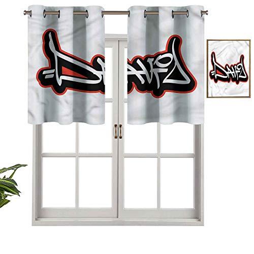 Hiiiman Cortina de ventana con ojales de filtrado de luz, cenefa superior para niños, juego de 2, 42 x 24 pulgadas para ventanas, dormitorio, cocina o baño