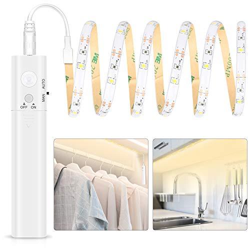 Tira de Luces LED con Sensor de Movimiento, Tira Luz Cuerda Pilas...