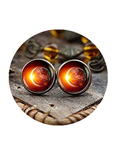 Pendientes solares con diseño de Eclipse, con espacio galaxia, pendientes de Eclipse, con diseño de ácaros solares, joyería de espacio exterior, pendientes de lunares con lunares solares