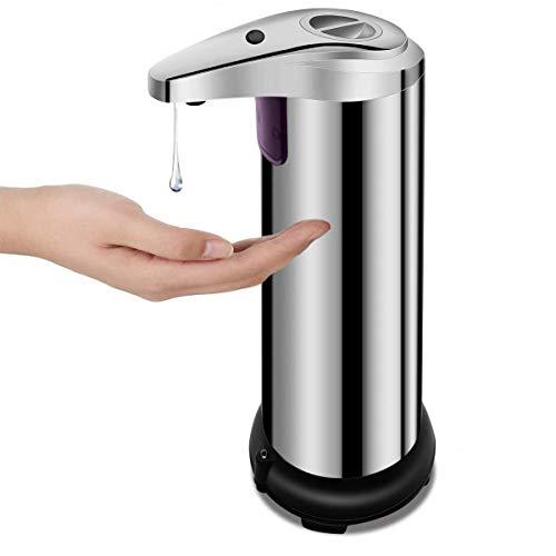 Chenma Edelstahl Automatisch Seifenspender, 250 ml, berührungsloser Infrarot Bewegungs Sensor, Elektrischer Flüssigseifenspender für Bad, Küche und Büro