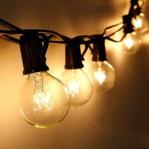 Lichterkette Außen Wasserdichte, KooPower 7.6M 25er Lichterkette Glühbirnen Aussen G40 Lichterkette Garten Retro Beleuchtung für Party Festtage Innen-Draußen Dekoration mit 2 Ersatzbirnen Warmweiß
