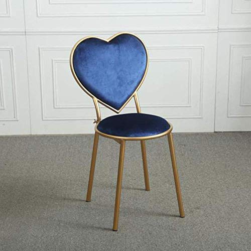 WRISCG Wrought Iron Heart-Shaped Stools Flannel Lounge Chairs Kitchen Counter Dessert Shop High Bar Stool with Backrest Cafe Golden Dresser Chair Metal Legs (Color : Blue, Size : 75cm)
