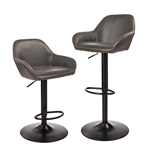 Glitzhome Mid Century Style Adjustable Swivel Bar Stool with Back Support Dining Chairs Dark Gray Set of 2 Double Adjustable Bar Stool