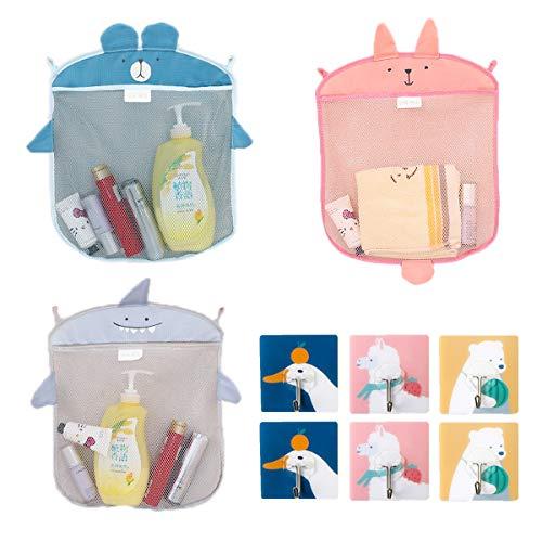 Qiundar Badewannen Spielzeug Aufbewahrungsnetz, 3 Stück Badewannen Spielzeugnetz Bad Spielzeug Organizer Netz Mit 6 Stück Klebehaken für Küche Bad Toilette