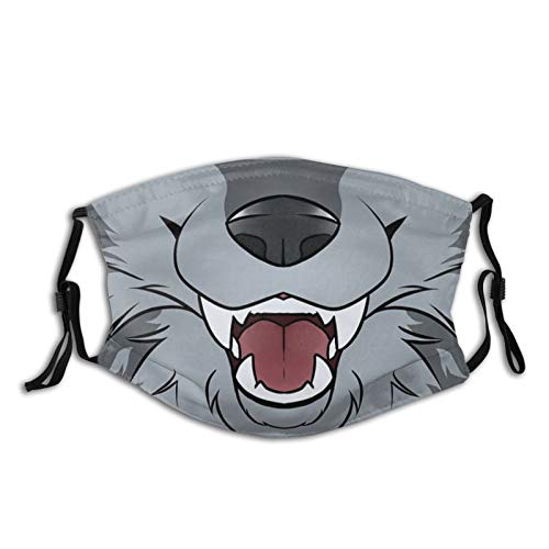 PNNUO Ferocious Animal Grey Wolf -Face Mask Scarf,Reusable Washable-Breathable With Filters,For Adults Men Women &Teens