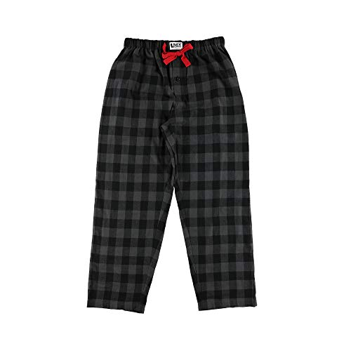 Lazy One Flannel Pajama Pants for Men, Men's Separate Bottoms, Lounge Pants, Plaid (Grey Buffalo Check, X-Large)