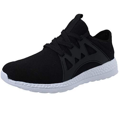 VVQI Laufschuhe Herren Damen Sneaker Sportschuhe Turnschuhe Mode Leichtgewichts Freizeit Atmungsaktive Fitness Schuhe 46 EU 004 1 Schwarz Weiß