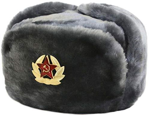 Islander Fashions russische Trapper-Hut-Kappe mit dem sowjetischen Abzeichen Faux Fur Ushanka Kosak Flaps Hat Grau One Size
