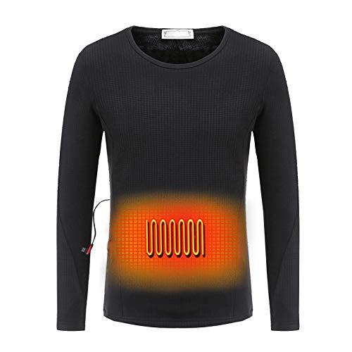 PW TOOLS Ropa Interior térmica Ropa Interior térmica con Aislamiento Lavable USB Calentamiento eléctrico Camisetas térmicas de Manga Larga para Hombres Mujeres, Batería no incluida