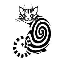 ステッカー 猫の漫画のアップリケモードパーソナリティの装飾アップリケPVC 10進BLAID /白、18cm * 13cm (Color : Black)