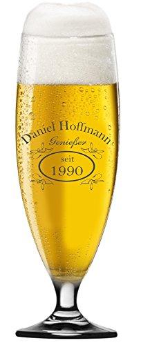 EIN Bierglas, Bierpokal 0,4l, Glas mit Bier Design inkl. Wunschgravur Gravur Wunschtext