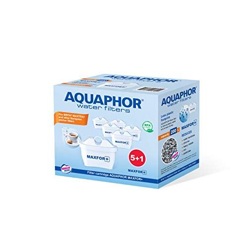 AQUAPHOR MaXFOR+ Pack 5+1 Cartouche de Filtre à Eau Anti-calcaire, Chlore et Autres Tissus indésirables, avec Aqualen brevetée Blanc 200 l