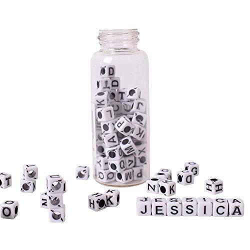 160unidades DIY Letra perlas Letra Dados Cubo Color Blanco Negro Para Pulseras Collar sí Manualidades 6mm