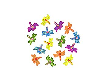 Wood Painted Dragonfly Shaped Craft Buttons 15 Count - 1 Inch Across