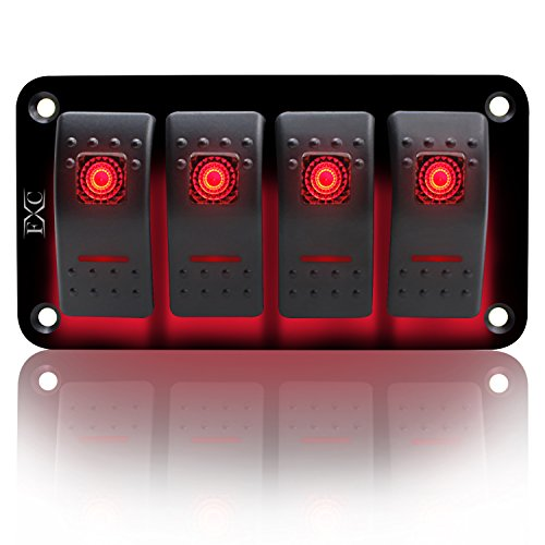 FXC Rocker Switch Aluminum Panel 4 Gang Toggle Switches Dash 5 Pin ON/Off 2 LED Backlit for Boat Car Marine Red