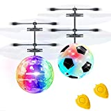 2 Pack RC Flying Ball Glow Flying Toys for Kid Boy Girl Holiday Christmas Gifts RC Toy Mini Drones Hand Controll Helicopter with 2 Remote Controller Quadcopter Soccer Games Toy for Kids Indoor Outdoor