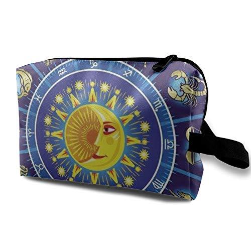 Bolsa de almacenamiento de lona de maquillaje de viaje, bolso de aseo portátil, pequeño organizador de cosméticos para niñas, mujeres, hombres, rueda del zodiaco Sun Moon