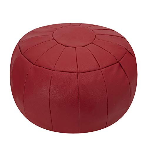 Rotot Decorative Pouf Cover, Ottoman, Bean Bag Chair, Footstool, Foot Rest, Storage Solution or Wedding Gifts (Unstuffed) (Dark Red)