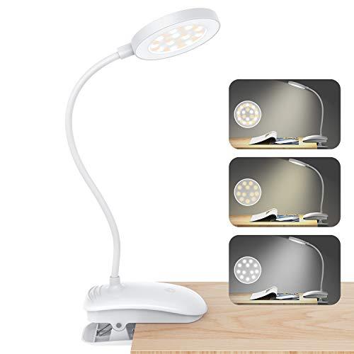 SUNGYIN led schreibtischlampe Leselampe Buch Klemme mit 24 LEDs, 3 Modi, Helligkeit stufenlos einstellbar, USB wiederaufladbare Buchlampe LED Klemmleuchte für nächtliches Lesebüro, Buch, Bett