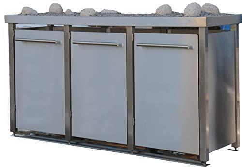 Mülltonnenbox aus Edelstahl mit Edelstahlpfosten, aufgebaut (3X 240l mit Pflanzwanne und B-Design)