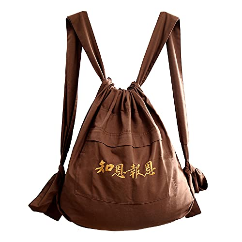 ZooBoo Unisex Buddhist Bag Monk Backpack - Tibetan Shaolin Temple Embroidery Kung Fu Bag - Cotton and Canvas