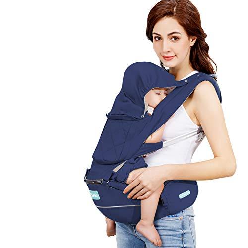 Windsleeping Porta bebe Ergonómico con Asiento,Mochila Porta Bebé Puro algodón Ligero apto para bebés, niños pequeños y recién nacidos– azul oscuro