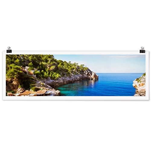 Bilderwelten Poster Wanddekoration Cala de Deia Mallorca Panorama Querformat, Matt 30 x 90cm