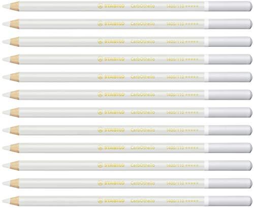 Lápiz de color tiza-pastel STABILO CarbOthello - Caja con 12 unidades - Color blanco grisaceo