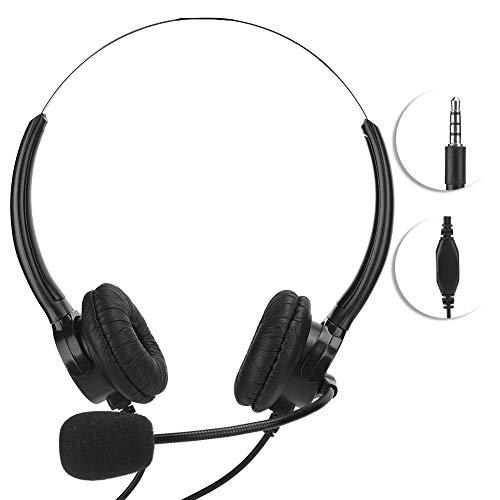 Auriculares con cancelación de ruido de 3.5 mm con micrófono, auriculares con micrófono Auriculares biauriculares con cable y orejeras de cuero de PU para teléfonos móviles/tabletas/PC Tablet