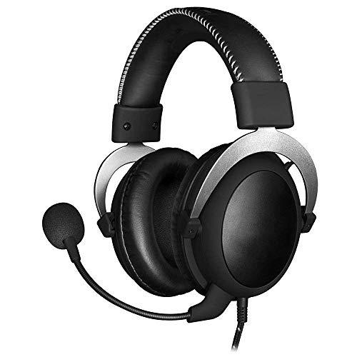 HWZDQLK Casque de Jeu - Unité d'entraînement de 53 mm Casque de Jeu Professionnel 3,5 mm Confortable avec Microphone à Annulation de Bruit Amovible