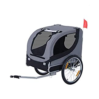 PawHut Steel Dog Bike Trailer Pet Cart Carrier for Bicycle Jogger Kit Water Resistant Travel Grey and Black 24