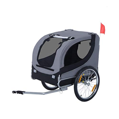 PawHut Steel Dog Bike Trailer Pet Cart Carrier for Bicycle Jogger Kit Water Resistant Travel Grey and Black