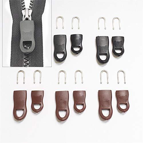 LRrui-Cremallera única 5pcs / Set Cremallera Etiquetas Zip Fixer, para Ropa Black Zipper Pull Fixer, para Ropa de Viaje Ropa de Maleta, Accesorios de Costura (Length : 44x16mm, Size : Brown 5Pcs)