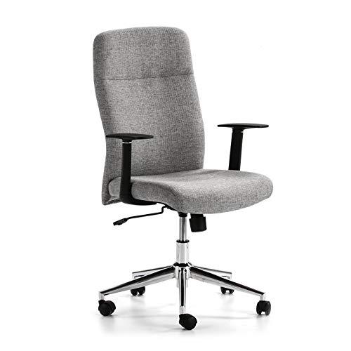 VS Venta-stock Sillón de Oficina elevable y reclinable Sam tapizado con Tela, Color Gris Claro, Metal Cromado