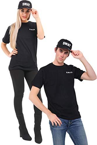 Wicked Fun - Set di magliette e cappellini, per adulti, costume da polizia dell'FBI tattica militare (Uomo)