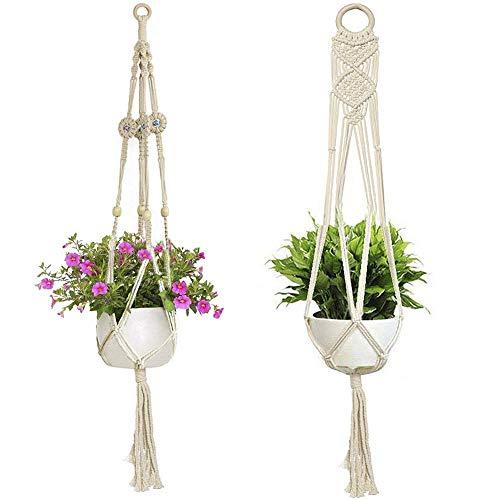Co-link 2 Stück Makramee-Pflanzenaufhänger, Makramee Blumenampel Wand Blumentöpfe zum Aufhängen Pflanzenhalter Baumwolle Aufhänge Seil (Pflanze und Töpfe Nicht inbegriffen)