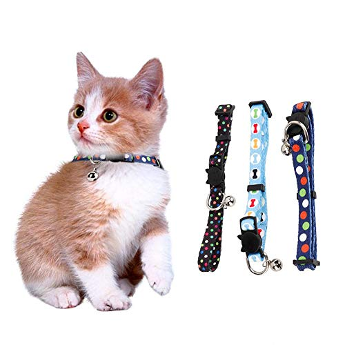Halsketting voor huisdieren, 3-delige halsband met thermische gesp en bel voor kittenhond kat