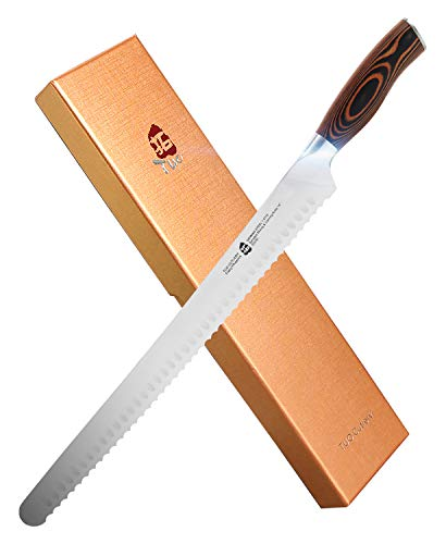 TUO Serrated Slicing Carving Knife 14 inch - Long Slicer - German HC Steel - Ergonomic Full Tang Pakkawood Handle Gift Box Included - Fiery Series