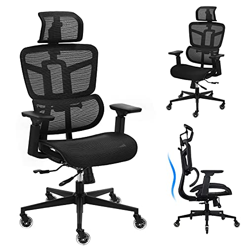 Office Chair - Ergonomic Desk Chair Mesh High Back Computer Chair, Adjustable 3D Lumbar Support Executive Office Chair with 4D Armrests, Tall Home Office Desk Chair, Rolling Swivel Task Chair, Black