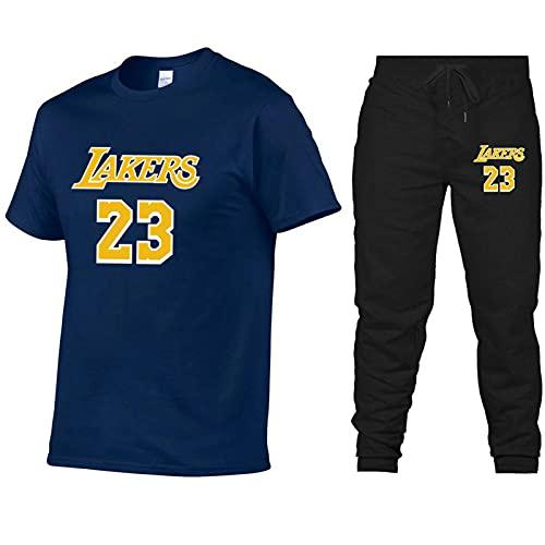 23 # Jordan Camisetas de baloncesto traje para hombres, 2021 Nueva tendencia verano casual manga corta camisetas pantalones deporte traje (S-XXL) azul real S