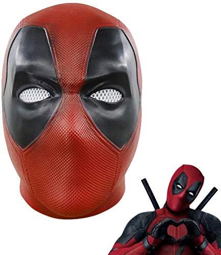 Máscara de Deadpool, Máscara de réplica de Disfraces de Halloween de Cosplay de película, Máscara de látex (A-Latex, Talla única)