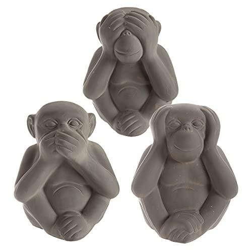 Wedestock Lot de 3 Statues singes Sagesse en résine Gris 18,5cm