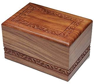 Indian Glance Wooden Urn Box - Urn for Human Ashes Funeral Cremation Urn with Hand Carved Design (X-Small)