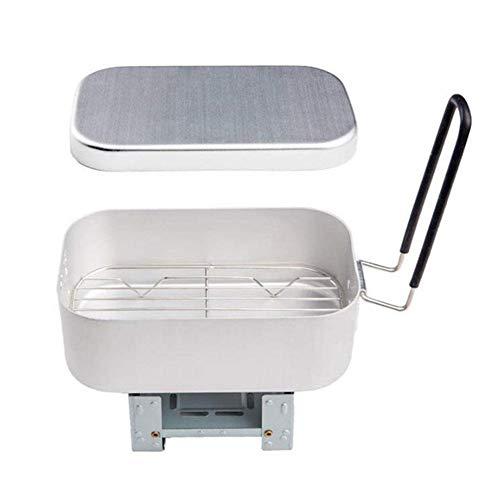 Bulary Tragbarer Aluminium-Reiskocher, Klappofen Festbrennstoff-Kochgeschirr Leichtes Kompaktes Reiskochset, Allzweck-Lunchbox Für Den Außenbereich Mit Dampfgarer Und Klappofen Zum Kochen Dampf