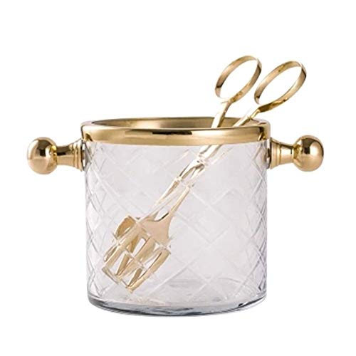 CHJZHXD BTCHFJB Cubo de hielo de vidrio, enfriador de vino, con 2 asas, cubo de hielo transparente con pinzas de acero inoxidable, perfecto para tu bar de casa