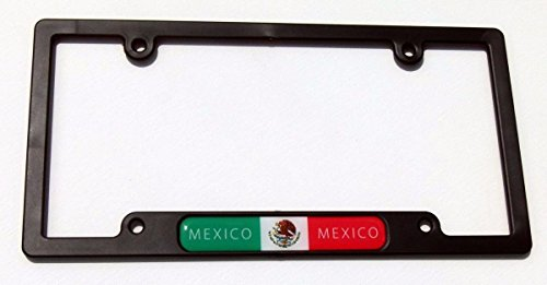 Mexico Mexican Flag Black Plastic Car License plate frame domed decal insert