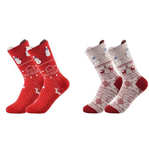 Coffret Cadeau Chaussettes Bonhomme De Neige De Noël Chaussettes Chaudes De Dessin Animé Jolies Chaussettes Montantes en Coton Automne Et Hiver Cadeaux du Nouvel (Color : 2pair)