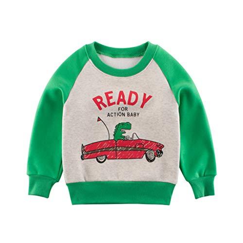 Yanhoo Kleinkind scherzt Baby Jungen Sweatshirt Buchstabe Pullover Hemd warme Winter Oberseiten Kleidung (1-9Y) Kinder Brief Druck Cartoon Shirt Langarm T-Shirt Boden Shirt