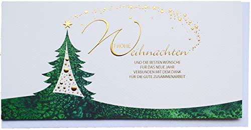 Din lang Firmen-Weihnachtskarte Zusammenarbeit Grün Gold